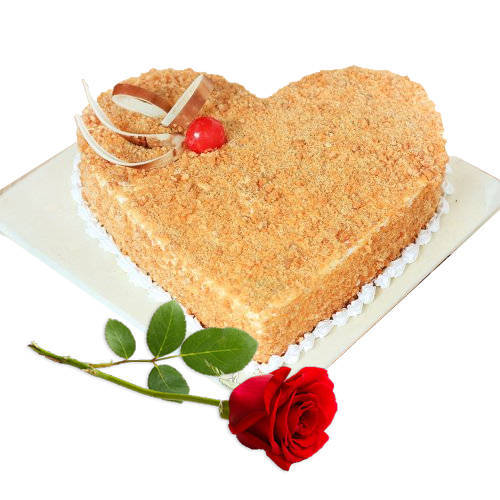Heart-Shape Delectable Butter Scotch Cake with Red Rose