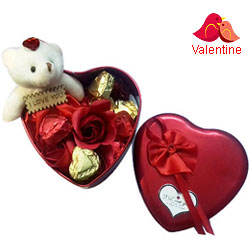 Charming Gift of Handmade Chocolates, Teddy and Roses for V-Day