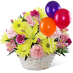 Pretty Basket of Fresh Mixed Flowers Arrangement Teamed with Colorful Balloons