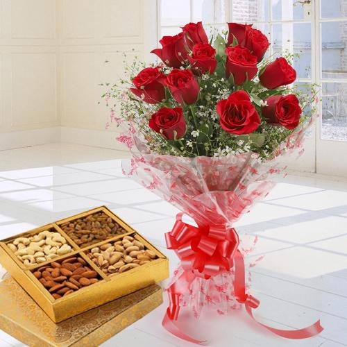 Impressive 12 Red Roses and tasty Dry Fruits pack