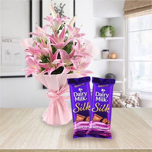 Pleasurable Dairy Milk Silk with Exquisite Bouquet of Pink Lilies