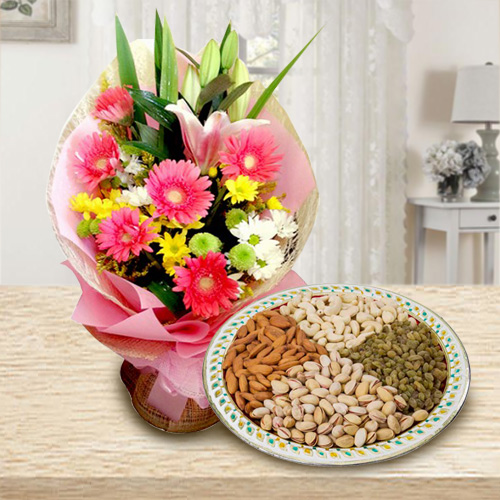 Glorious Seasonal Flowers along with tasty Dry Fruits