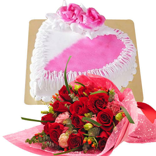 Gaudy Roses with Lip-smacking Heart Shaped Cake