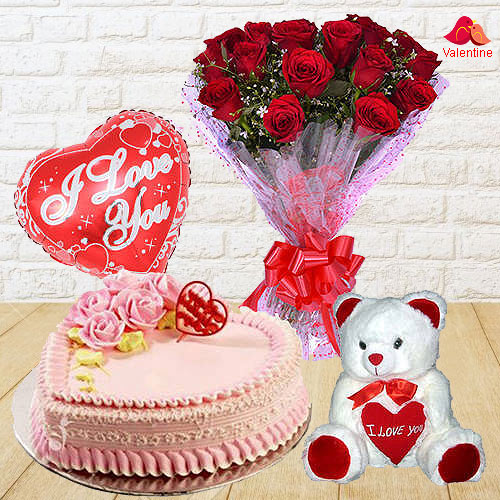 12 Exclusive  Dutch Red    Roses  Bunch with Cute Teddy Bear, Love Cake 1 Lb and  Heart Shaped Balloons