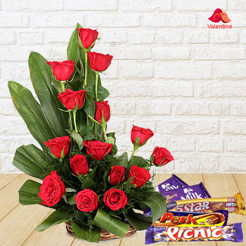 15 Exclusive Dutch Red Roses Basket with Cadburys Assorted Chocolates