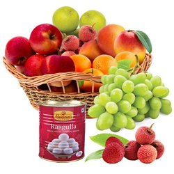 Bountiful Seasonal Fresh Fruits with Haldiram Rasgulla Bassinet