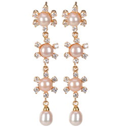 Resplendent Floral Chain Earrings of 4 Pearls Ornamented with AD Stones