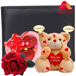 Exquisite Pure Leather Gents Wallet from Longhorn with 3 pcs Heart Shape Chocolate & I Love You Singing Teddy with Free Velvet Rose