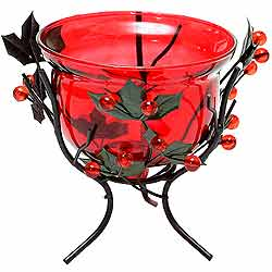 Sparkling Red Wrought Iron Candle Stand Gift