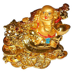 Good Fortune Feng Shui Laughing budha with dragon