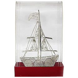 Pious Sail Boat Handicraft made of Silver