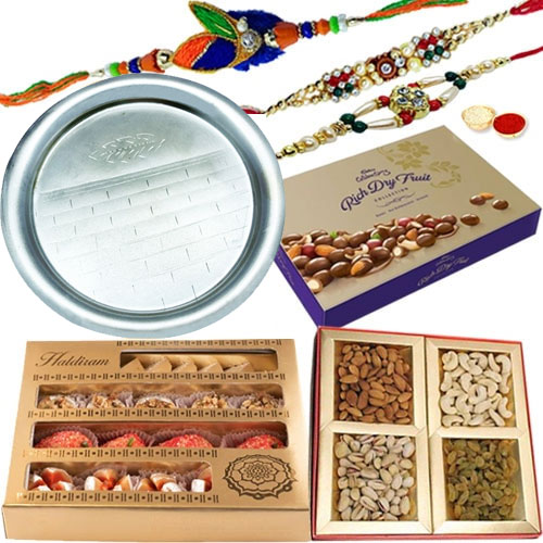 Cadbury Dry Fruit Box, Add 1 Designer Rakhin, Haldirams Assorted Sweets, Assorted Dry Fruits, Rakhi Thali, Free Rakhi, Roli & Tilak