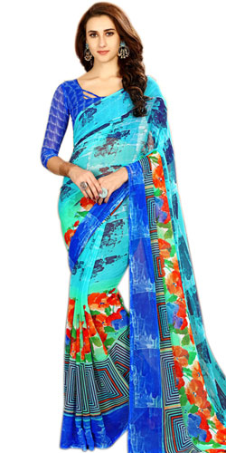 Exclusive Blue Color Printed Chiffon Designer Sari for Women