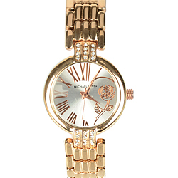 Fashionable Stone Studded Golden Wrist Watch for Ladies