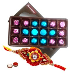 Irresistible Pack of Assorted Homemade Chocolates with a free Rakhi Roli Tilak and Chawal for Raksha Bandhan