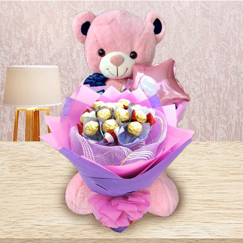 Remarkable Ferrero Rocher Bouquet, Teddy N Mylar Balloon