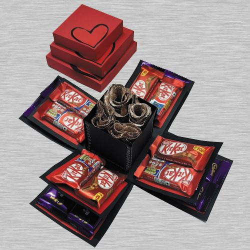 Marvelous Triple Layer Explosion Box of Chocolates N Roses