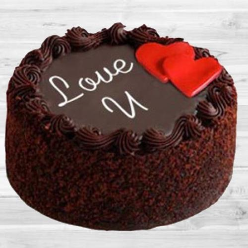 Blissful Gift of Chocolate Mud Love Cake for Valentines Day