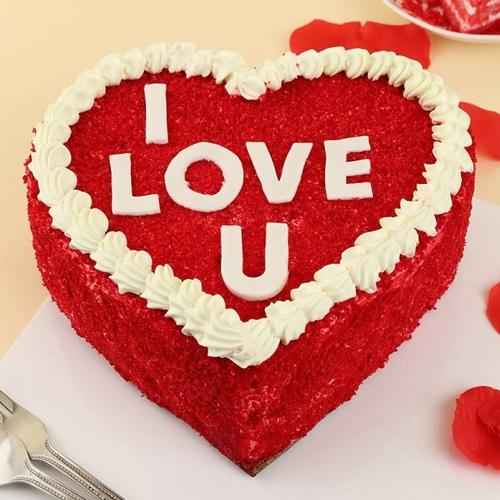 Irresistible Gift of Heart Shape Red Velvet Cake