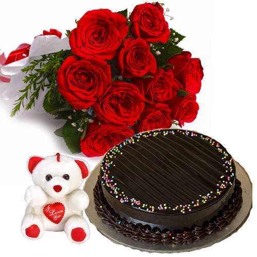 Elegant Roses Bunch with Truffle Cake   Teddy