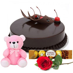 Marvelous Chocolate Cake with Ferrero Rocher, Teddy N Single Rose