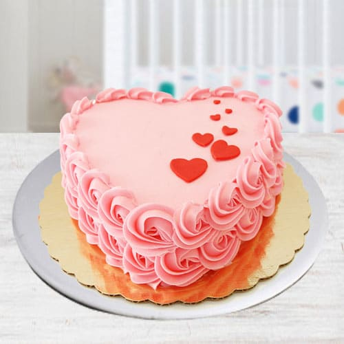 Luscious Heart Shape Strawberry Cake