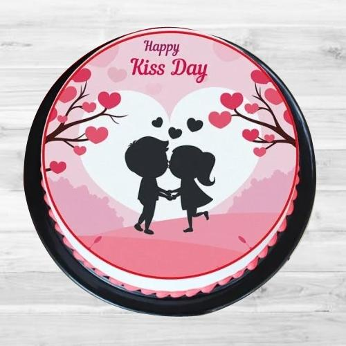 Delicious Treat of Strawberry Personalized Photo Cake for Kiss Day