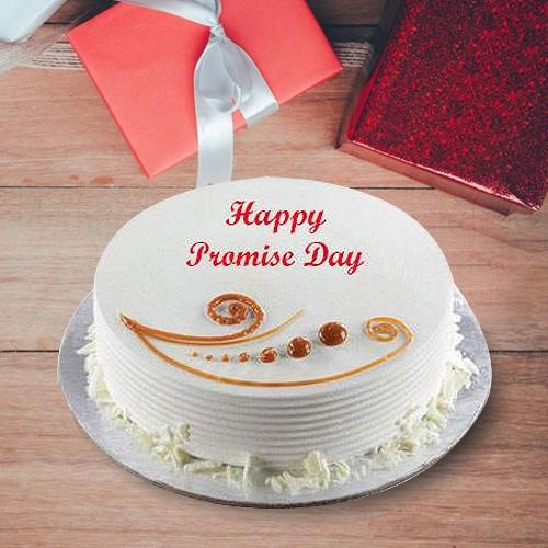 Special Promise Day Gift of Vanilla Flavor Cake