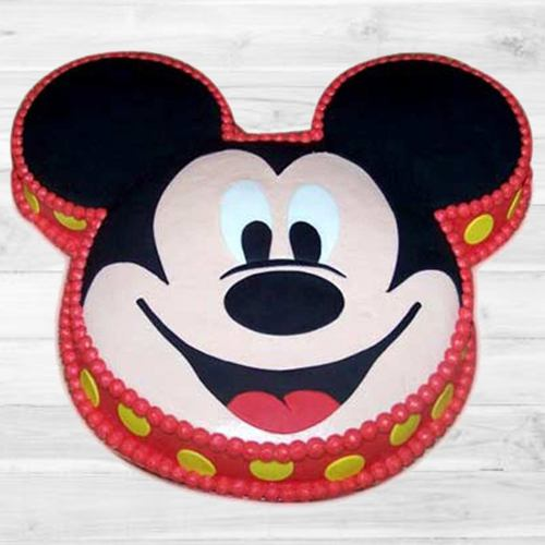 Appetizing Mickey Mouse Shape Cake for Birthday