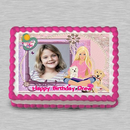 Marvelous Barbie Personalized Photo Cake for Kids