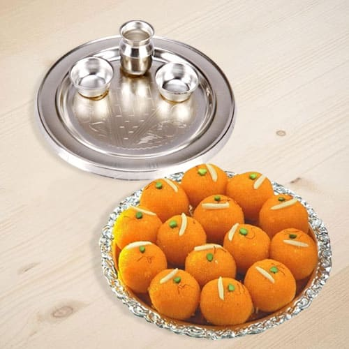 Combo of Motichur Laddu N Silver Plated Thali