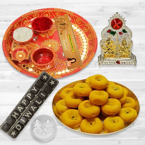 Pooja Samagri Hamper with Peda and Chocolate with free silver plated coin for Diwali.