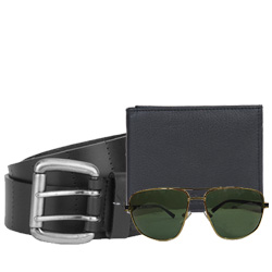 Collection of Sunglass, Fastrack Belt and Longhorn Leather Wallet for Men