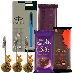 Parker Pen with Chocolates N Pen Holder Combo for Him