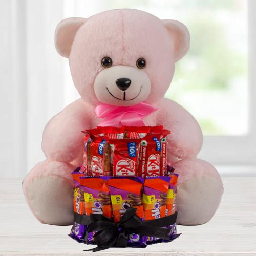 Marvelous 2 Tier Chocolate Arrangement with a Pink Teddy