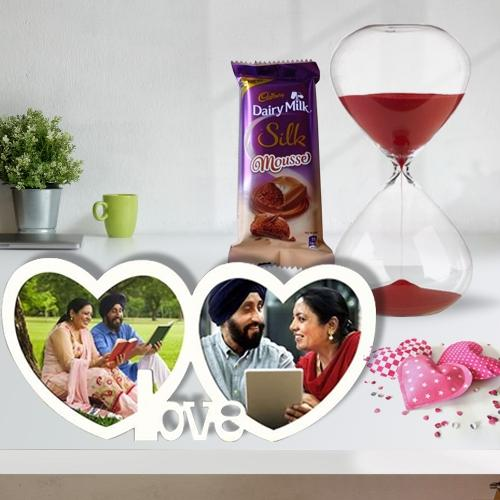 Charming V-Day Combo of Twin Heart Personalized Photo Frame with Chocolate n Love Timer