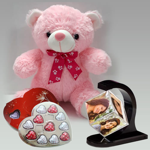 Wonderful Personalized Photo Revolving Stand with Love Teddy n Chocolate