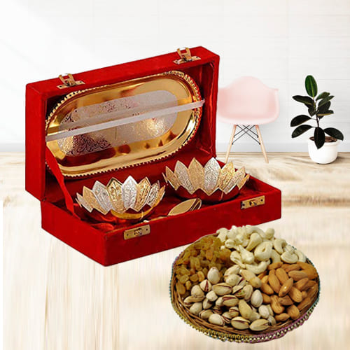 Decorative Silver Bowl Gift Set with Crunchy Dry Fruits