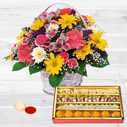 Mixed Flowers Basket with Assorted Sweets