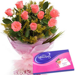 Cadbury Celebrations Pack with Pink Roses Bunch