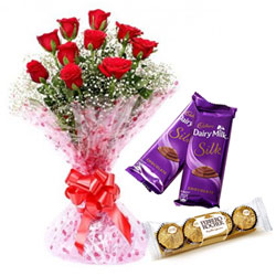 Gorgeous Red Rose Bouquet, Ferrero Rocher and Dairy Milk Silk