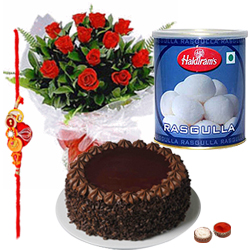Admirable Selection of Red Roses, Rasgulla and Cake with free Rakhi, Roli Tilak and Chawal on the Occasion of Raksha Bandhan