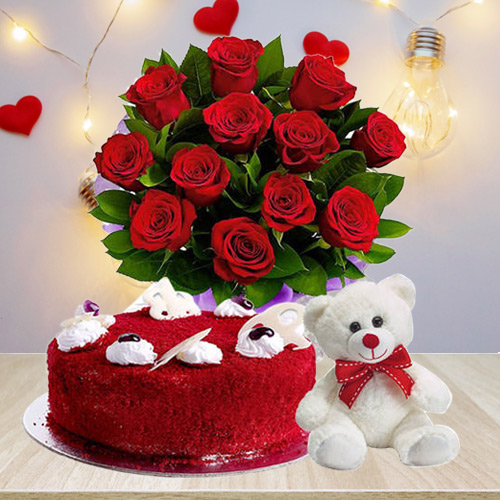 Attractive Bouquet of Red Roses with Teddy N Red Velvet Cake