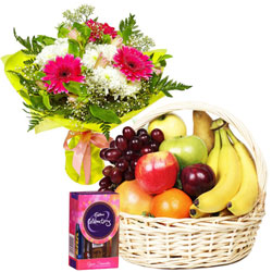 Yummy Chocolate Pack with Fruits Basket and Floral Bouquet