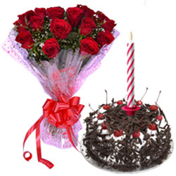Supreme Mid-night Gift of Black Forest Cake with Candles and Beautiful Red Roses Bouquet