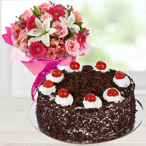 Romantic Mixed Flower Arrangements with 1 Lb Black Forest Cake