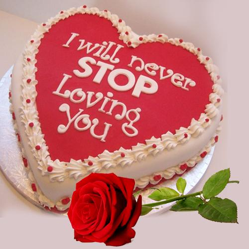 Blissful Heart Shape Chocolate-Red Velvet Fusion Cake with Single Red Rose