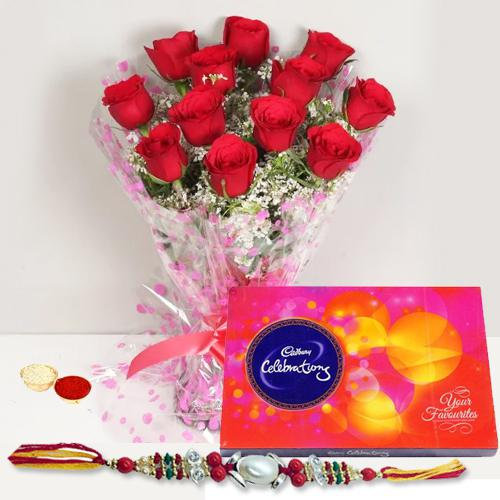 Eye-Catching Display of One Dozen Red Roses Bunch and Delicious Cadbury Celebration Chocolates Pack with Free Rakhi, Roli Tilak and Chawal for this Rakhi Festival