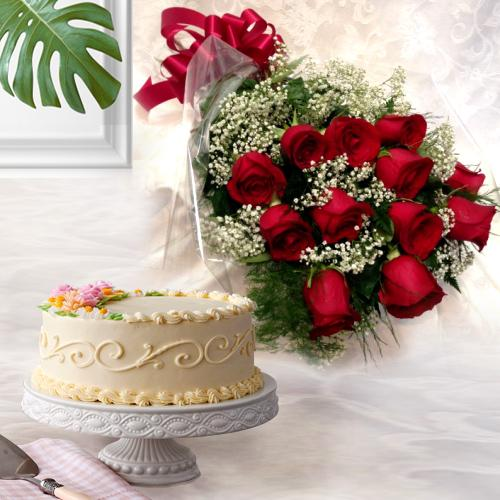 Energetic 12 Dutch Red Roses with 1 Kg Eggless Cake