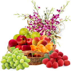 Nourishing Fresh Fruits Basket N Orchids